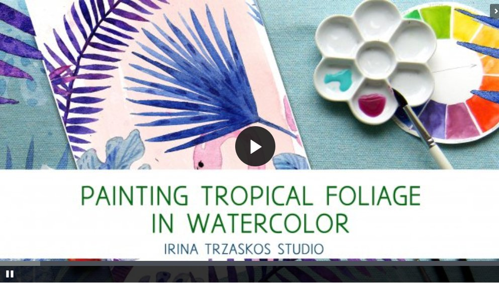 Beginner art journaling classes you can take online: Painting Tropical Foliage in Watercolor #artjournaling #artjournalideas #artjournalclasses #bulletjournal