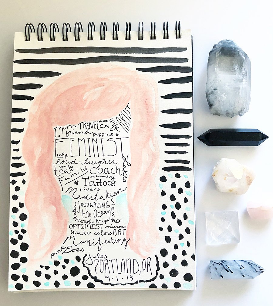 Day 1 of the 30 Day Art Journal Challenge, by Jules Amador www.joyfulartjournals.com #joyfulartjournals #artjournals #artjournalideas #30dayartjournalchallenge #creativebuggetsmessy