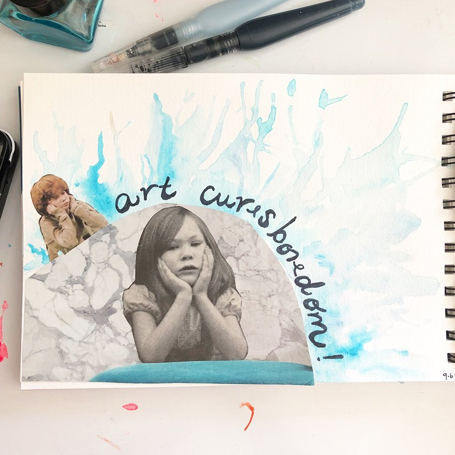 Day 6 of the 30 Day Art Journal Challenge, by Jules Amador www.joyfulartjournals.com #joyfulartjournals #artjournals #artjournalideas #30dayartjournalchallenge #creativebuggetsmessy