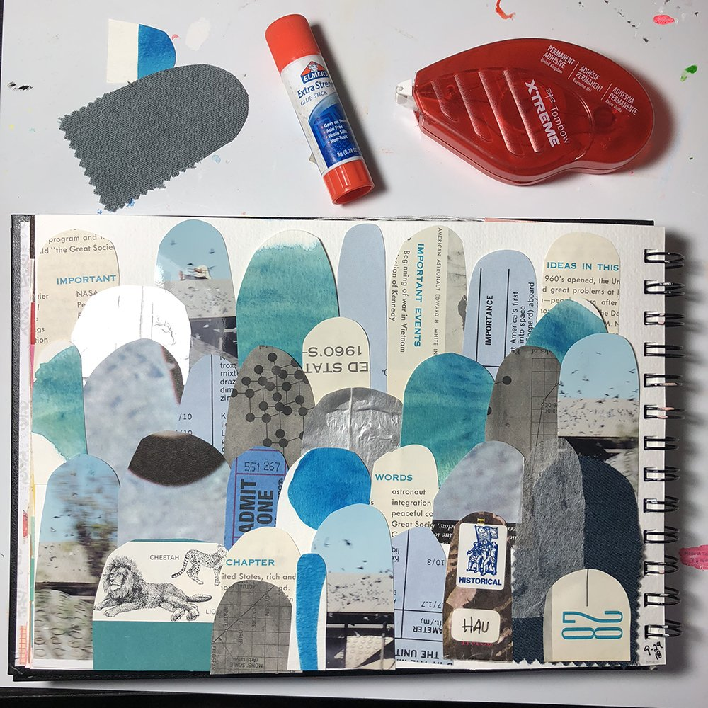 Day 29 of the 30 Day Art Journal Challenge with #GetMessy, by Jules Amador www.joyfulartjournaling.com #joyfulartjournaling #artjournals #artjournalideas #30dayartjournalchallenge #creativebuggetsmessy #collage #mixedmediajournal