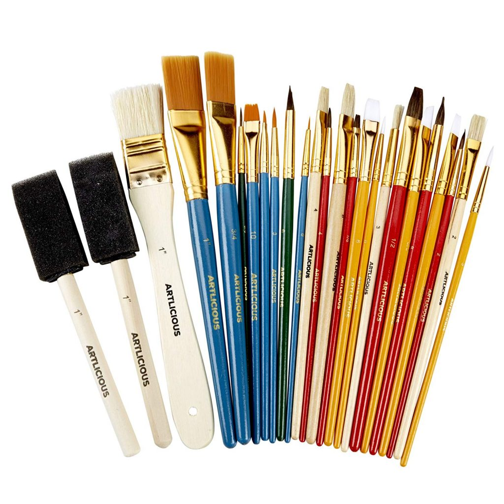 Recommended art journal supplies: All Purpose Paint Brush Value Pack
