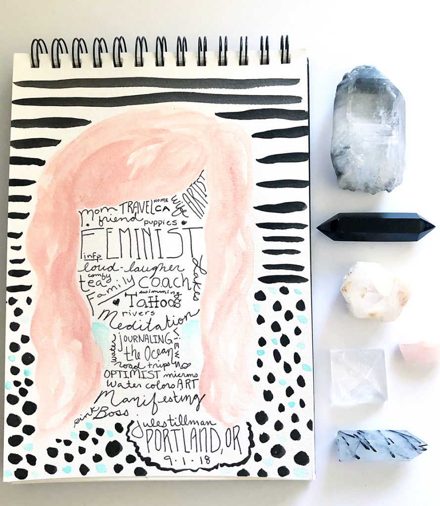 "What is art journaling? This example is of my take on a ""self-portrait."" #joyfulartjournaling #julesamador #artjournalideas #whatisartjournaling"