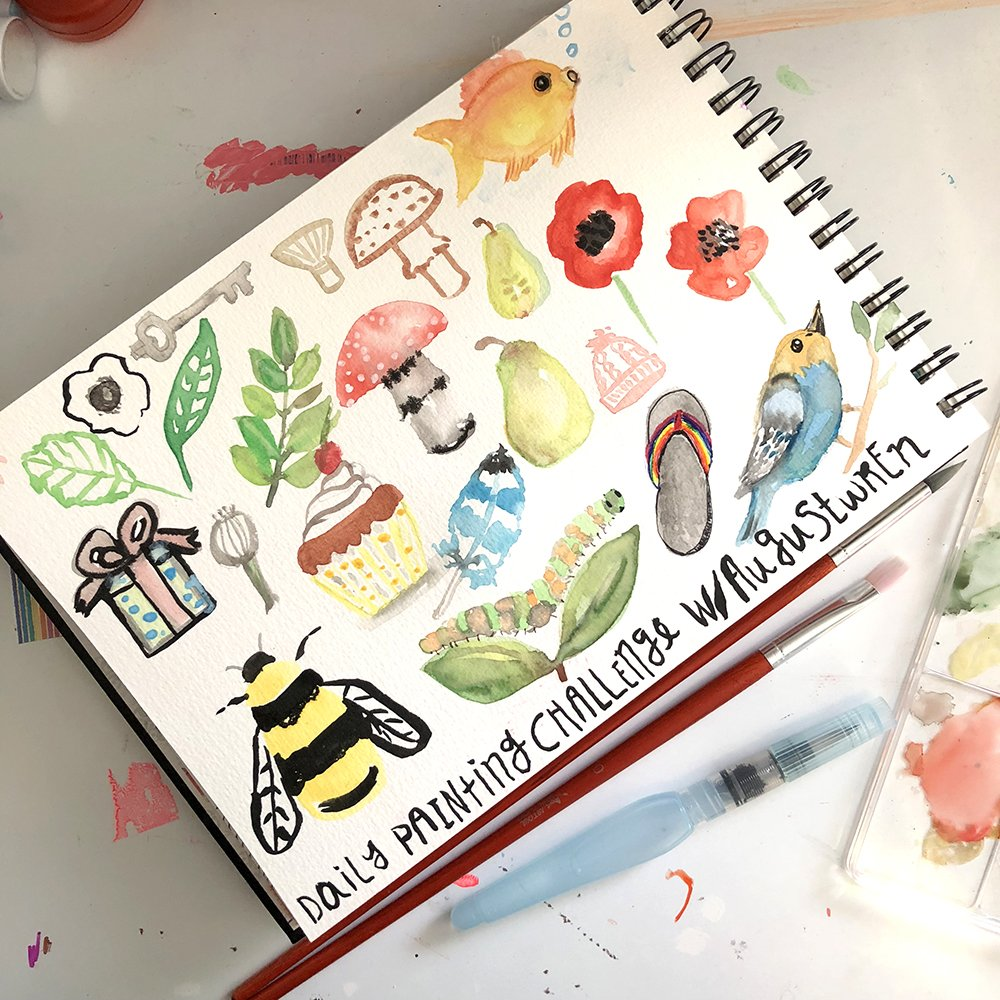 What is art journaling? In this example of an art journal I'm practicing watercolor painting with a class I took. #joyfulartjournaling #whatisartjournaling #artjournalexamples