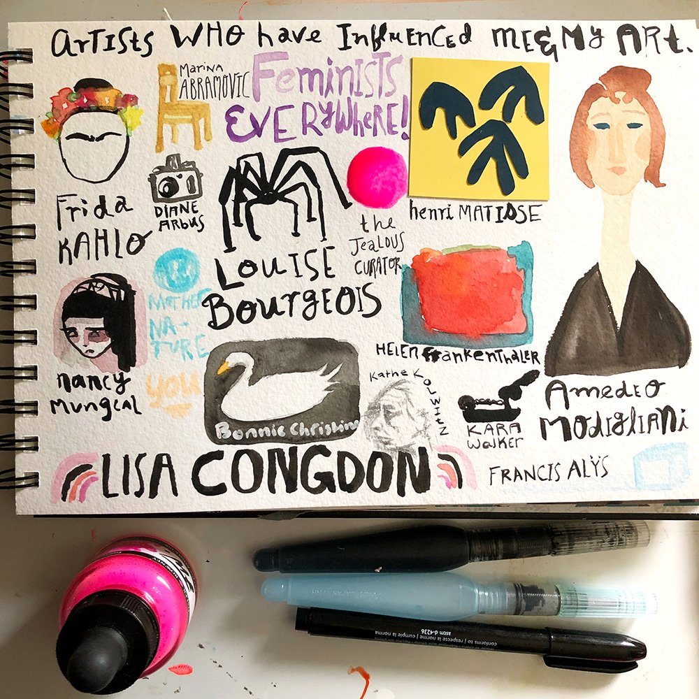 "What is art journaling? This example is of a ""visual list"", if you will, of the art journaler's (Jules Amador) favorite artists."