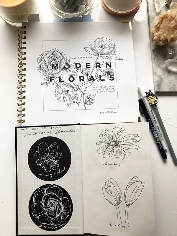 How to Draw Modern Florals Book Review on JoyfulArtJournaling.com #joyfulartjournaling