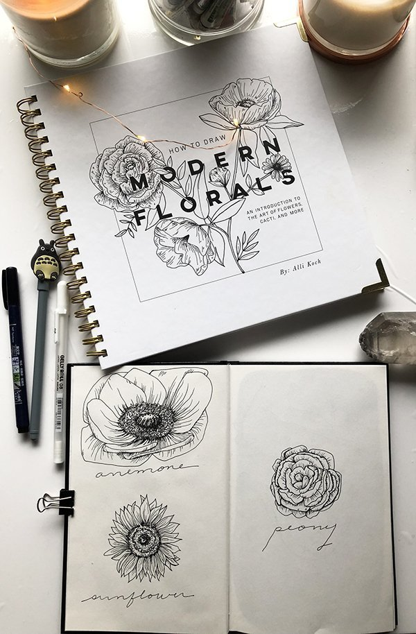 Some sample sketches from this How to Draw Modern Florals Book Review on JoyfulArtJournaling.com #joyfulartjournaling