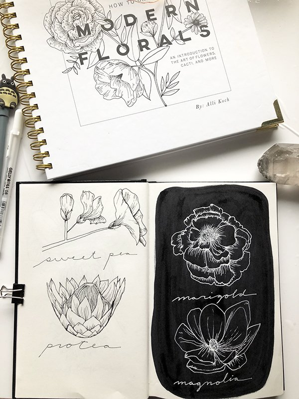 More sample sketches from this How to Draw Modern Florals Book Review on JoyfulArtJournaling.com #joyfulartjournaling