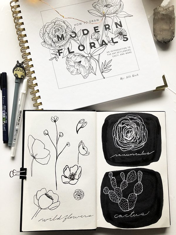 Check out this How to Draw Modern Florals Book Review on JoyfulArtJournaling.com #joyfulartjournaling