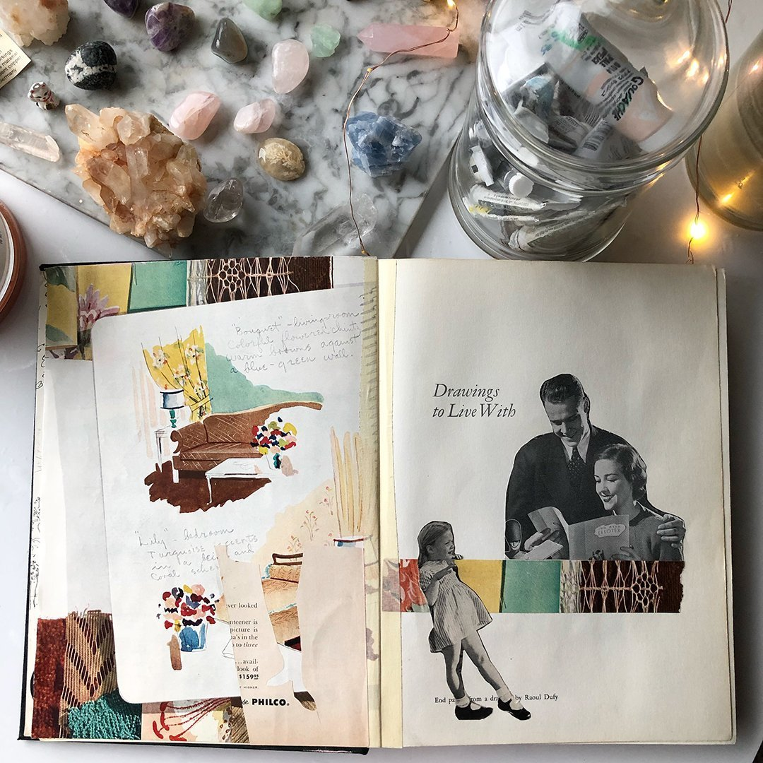 Altered Book Flip Through: subtle collages fill many pages of this altered book. #joyfulartjournaling