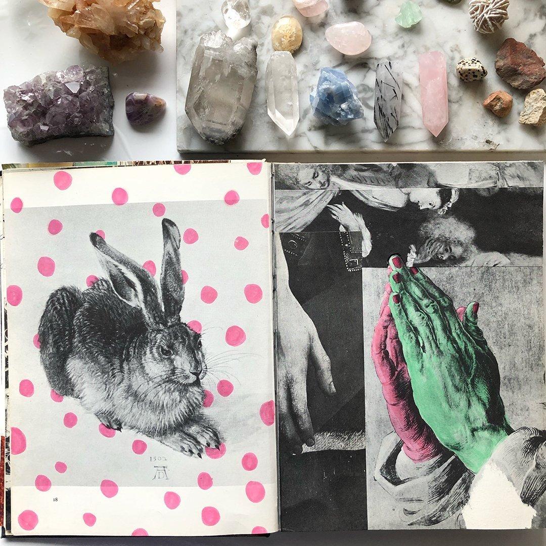 Altered Book Flip Through: do you recognize the Hare? #joyfulartjournaling