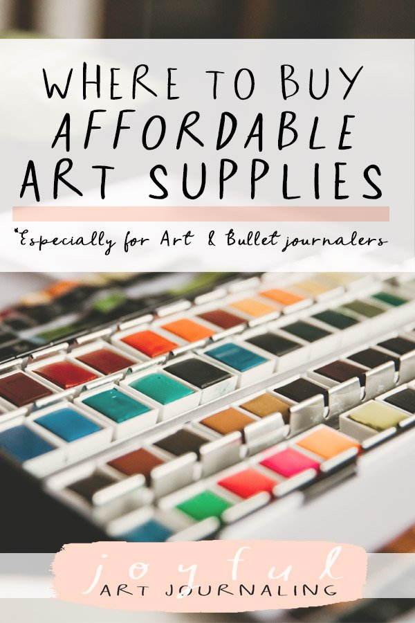 Art supplies can be expensive! Click through to find out where to buy affordable art supplies, some even at 75%-95% off! www.JoyfulArtJournaling.com #joyfulartjournaling