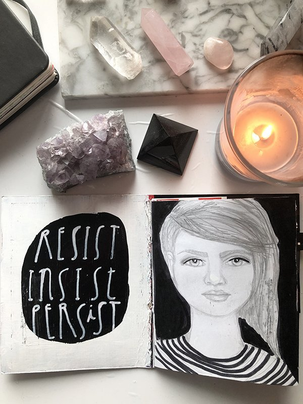 15 Ways to Use Portraits in Your Art Journal (that aren't hard or intimidating!) Like a simple pencil portrait with paint or pen surrounding it to finish it off. #joyfulartjournaling #artjournalideas