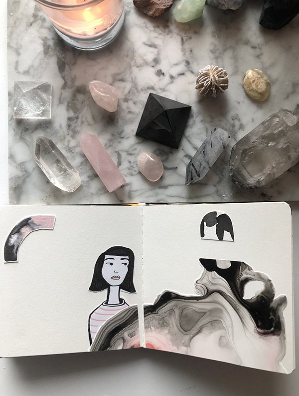 15 Ways to Use Portraits in Your Art Journal (that aren't hard or intimidating!) I used art I intended to sell (but didn't quite make the cut) and collaged pieces together to make this art journal spread. #joyfulartjournaling #artjournalideas