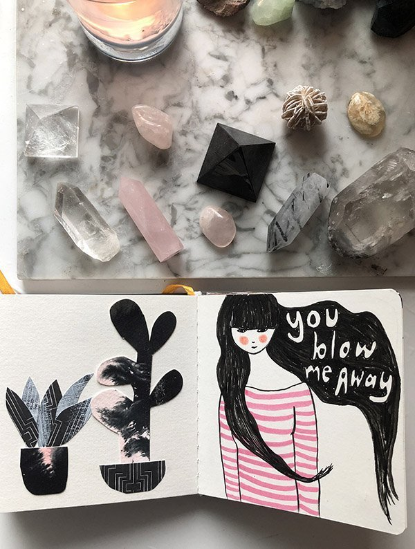 15 Ways to Use Portraits in Your Art Journal (that aren't hard or intimidating!) Like a simple portrait that leans more illustrative or cartoon-y than realistic. #joyfulartjournaling #artjournalideas