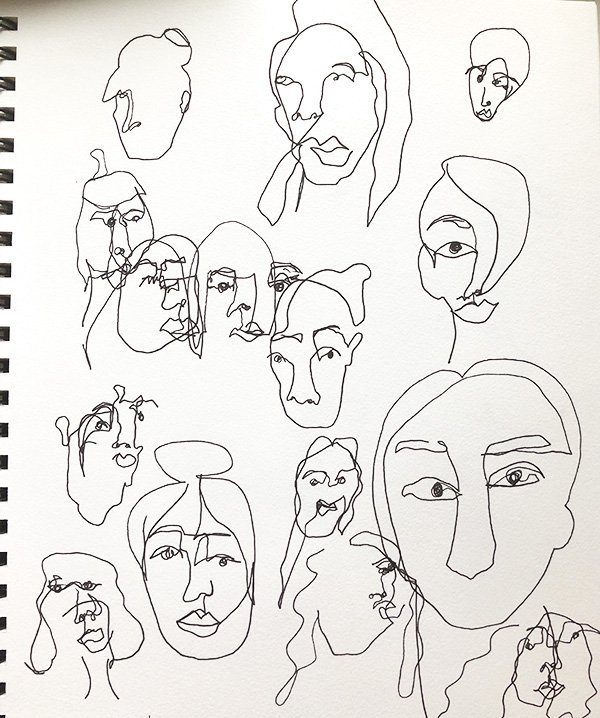 15 Ways to Use Portraits in Your Art Journal (that aren't hard or intimidating!) Like this collection of blind contour portraits. #joyfulartjournaling