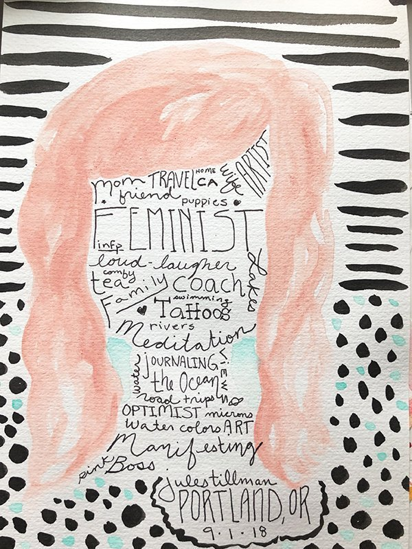 "15 Ways to Use Portraits in Your Art Journal (that aren't hard or intimidating!) Like this ""word"" portrait. #joyfulartjournaling"