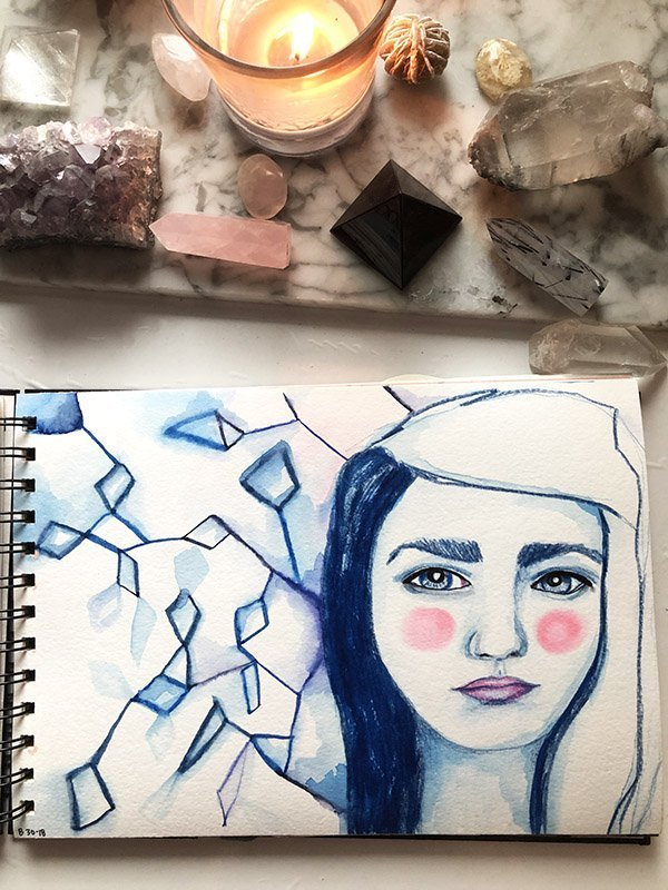 15 Ways to Use Portraits in Your Art Journal (that aren't hard or intimidating!) Like this (mostly) monochromatic portrait. #joyfulartjournaling