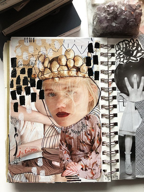 15 Ways to Use Portraits in Your Art Journal (that aren't hard or intimidating!) Like this collage mixed-media portrait. #joyfulartjournaling