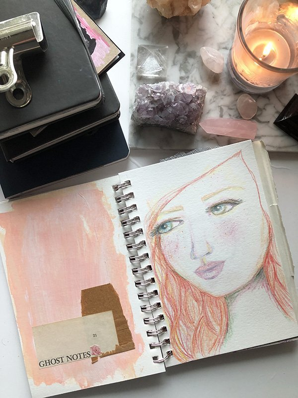 15 Ways to Use Portraits in Your Art Journal (that aren't hard or intimidating!) Like this two-page spread that puts less pressure on the portrait itself. #joyfulartjournaling #artjournalideas
