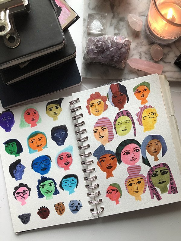 15 Ways to Use Portraits in Your Art Journal (that aren't hard or intimidating!) Like these colorful, more cartoon-like silly portraits. #joyfulartjournaling #artjournalideas