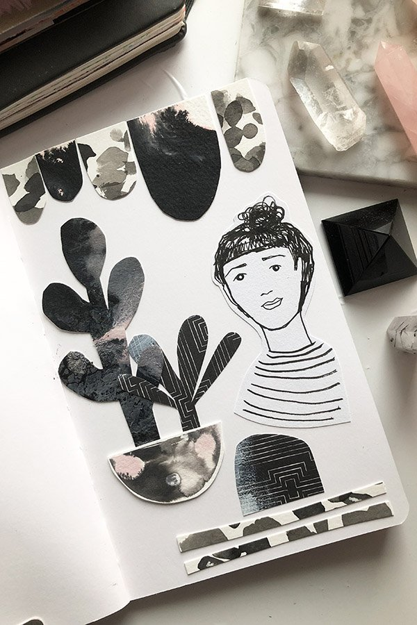 15 Ways to Use Portraits in Your Art Journal (that aren't hard or intimidating!) I cut out a portrait from a simple page of doodles that I was drawing and used it in a collage along with abstract pieces from other un-sellable art I made. #joyfulartjournaling #artjournalideas