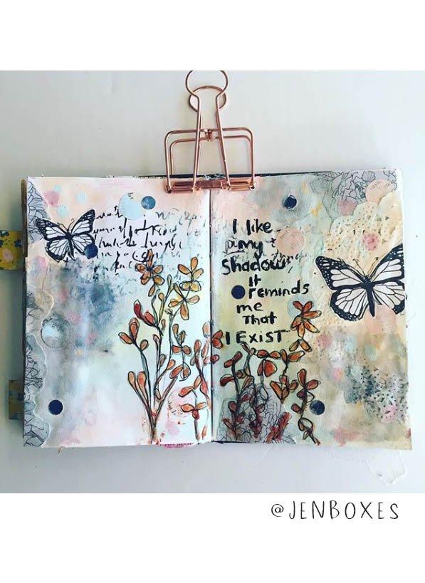 So Much Art Journal Inspiration! This list of (More) Inspiring Art Journalers on Instagram includes @jenboxes plus 20 more! #joyfulartjournaling #artjournals #artjournalideas #artjournalinspiration