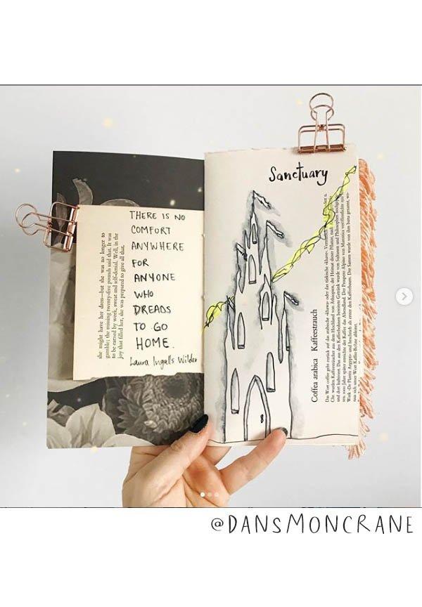 Lovely Art Journal Inspiration: This list of Inspiring Art Journalers on Instagram includes @dansmoncrane plus almost 20 more! #joyfulartjournaling #artjournals #artjournalideas #artjournalinspiration