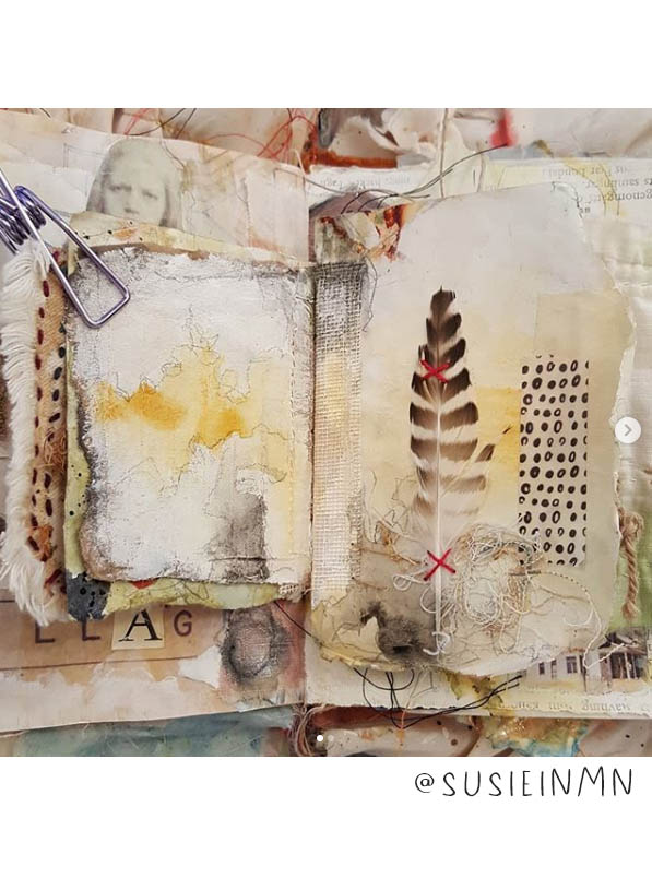 Get your dose of Art Journal Inspiration: This list of Inspiring Art Journalers on Instagram includes @susieinmn plus nearly 20 more! #joyfulartjournaling #artjournals #artjournalideas #artjournalinspiration