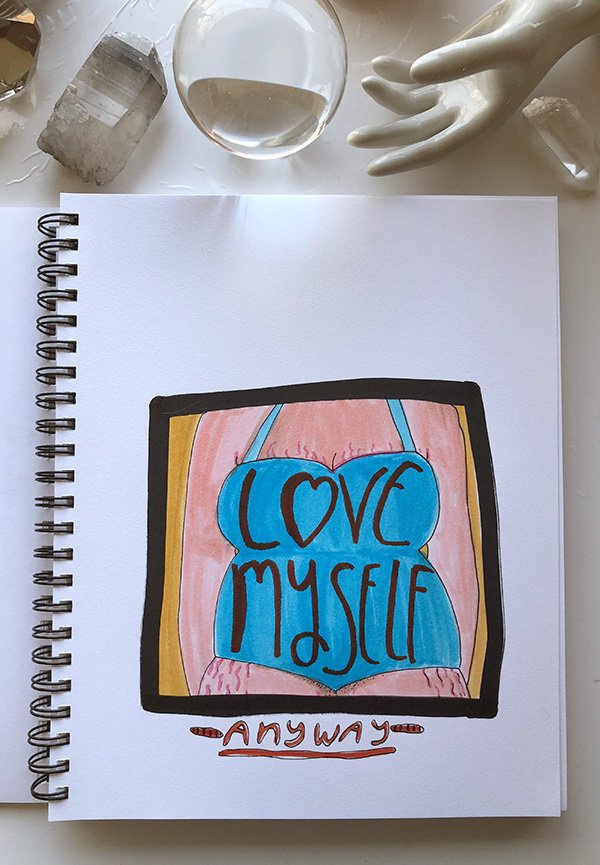 """My final project from the class """"Visual Journaling: Drawing Your Feelings"""" that I review in this post. I want to love myself, regardless of any so called flaws. #artjournalingideas #joyfulartjournaling"""