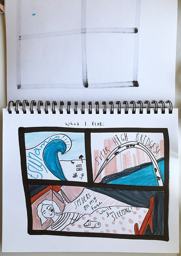 """My fourth project from the class """"Visual Journaling: Drawing Your Feelings"""" that I review in this post. It was pretty easy to come up with things I fear... I could've added more, sadly! haha! #artjournalingideas #joyfulartjournaling"""
