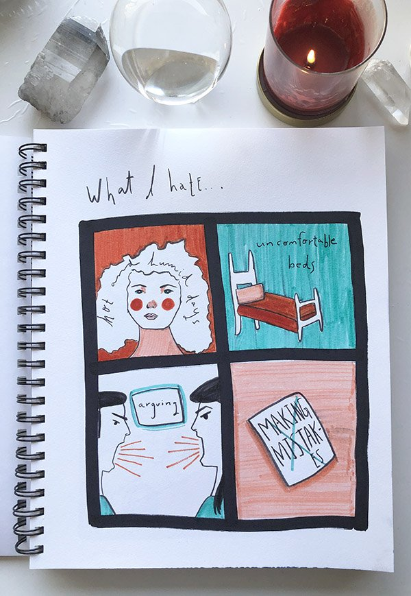 """My second project from the class """"Visual Journaling: Drawing Your Feelings"""" that I review in this post. It was hard to come up with the things I hate... but not for the reasons you might guess. #artjournalingideas #joyfulartjournaling"""