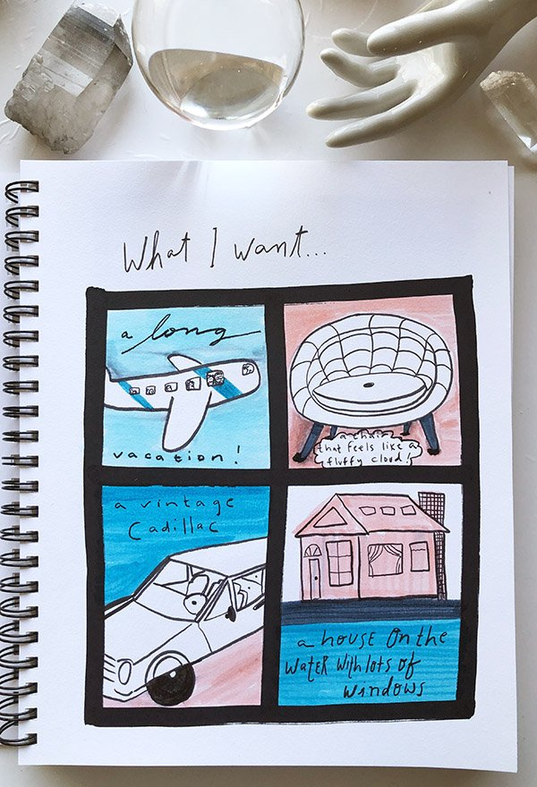 """My third project from the class """"Visual Journaling: Drawing Your Feelings"""" that I review in this post. It was so fun to come up with things I want... I could've added so many more! #artjournalingideas #joyfulartjournaling"""