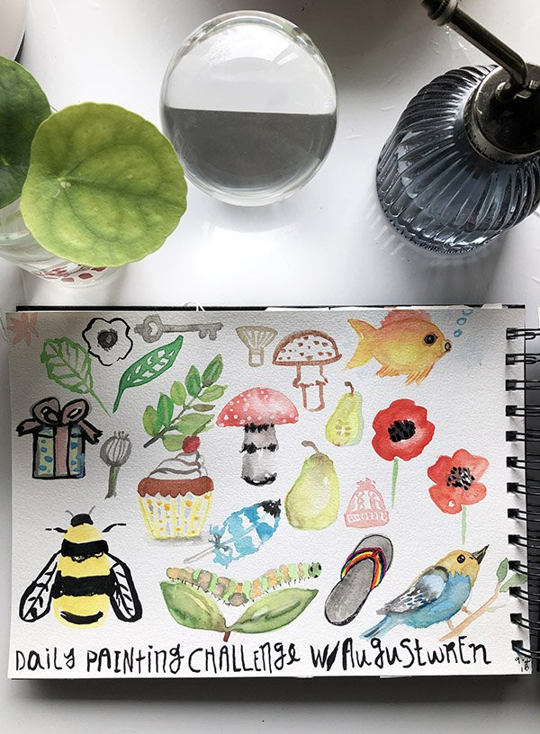 Sometimes the best way to start an art journal is with prompts. I filled this page with prompts from a watercolor class I took. #joyfulartjournaling #howtostartanartjournal