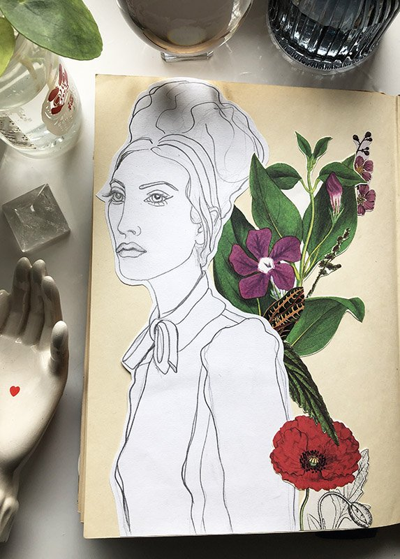 Collage is one of my favorite ways to start my art journal... it's forgiving because you can create your whole layout without gluing anything down, to see it you like it! #joyfulartjournaling