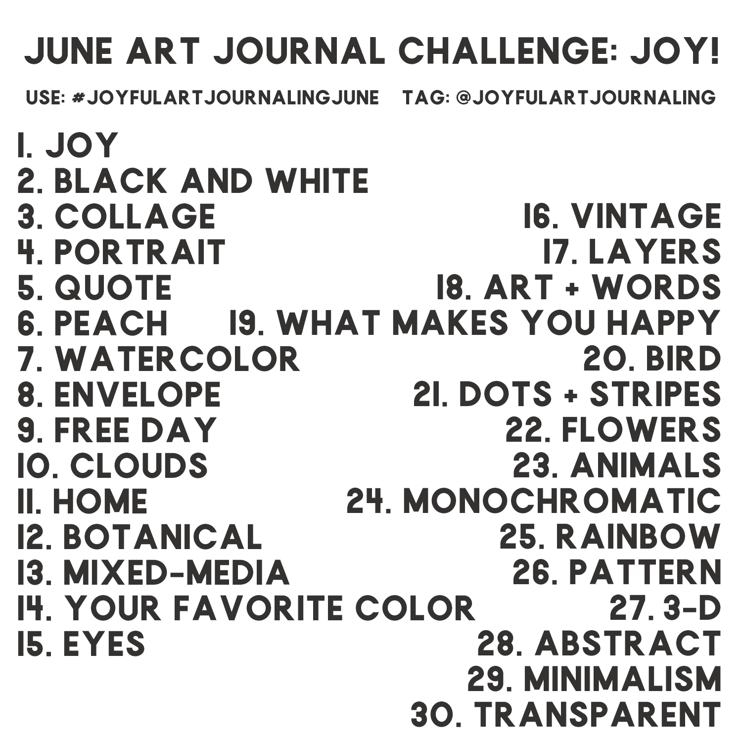 Join our 30 day art journal challenge to bring more JOY into your life, and the world, through art journaling! These 30 daily art journaling prompts are included as a creative guide. #joyfulartjournaling