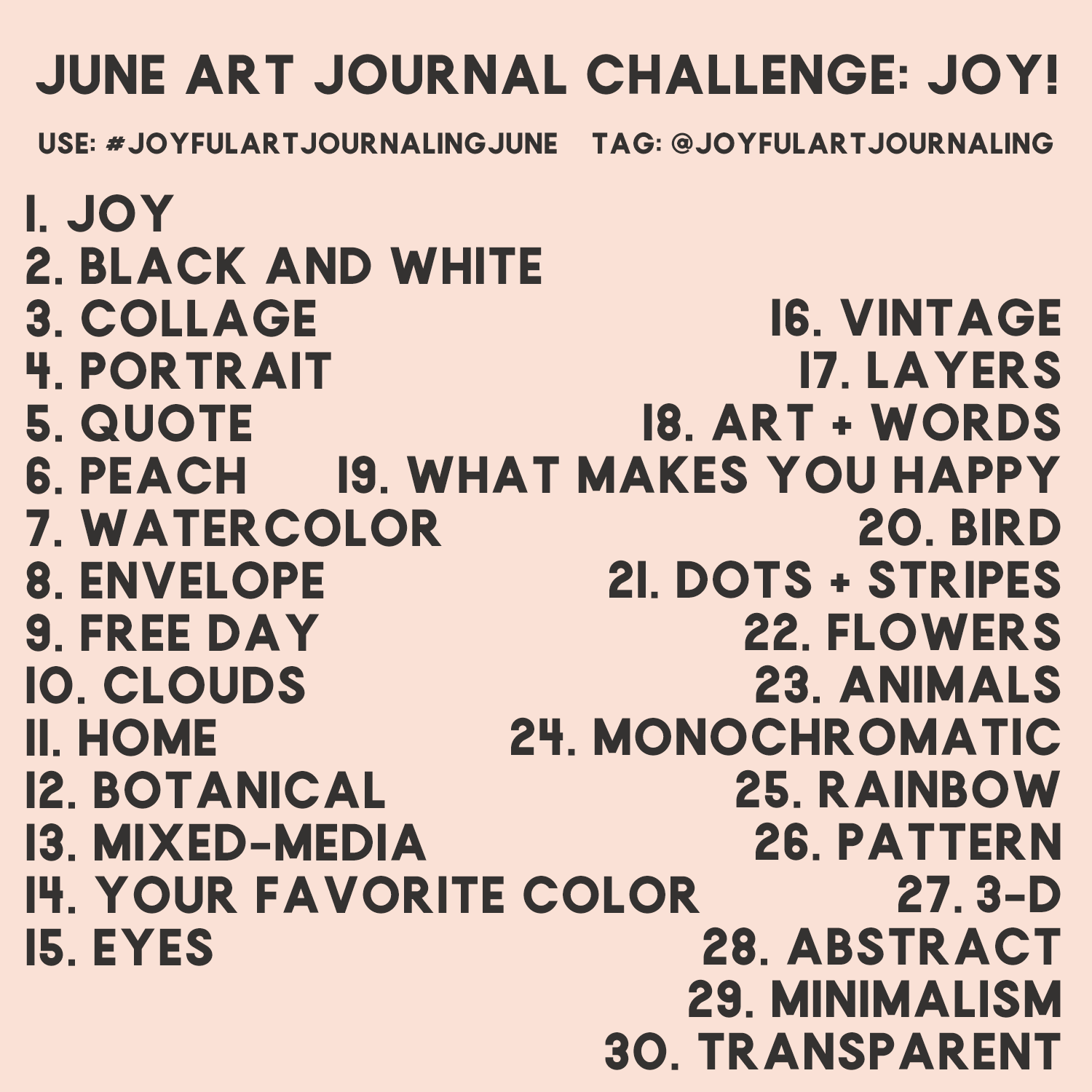 Do this 30 day art journal challenge to bring more JOY into your life, and the world, through art journaling! These 30 daily art journaling prompts are included as a creative jumping points.. #joyfulartjournaling