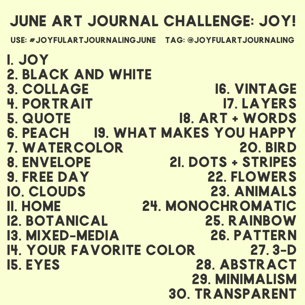 Join this 30 day art journal challenge to start art journaling! These 30 daily art journal prompts are included to help you get started. Click through to learn more. #joyfulartjournaling