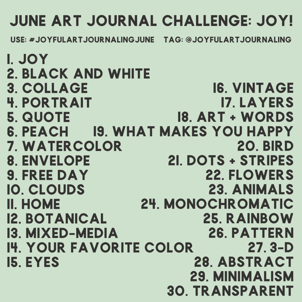 Join our 30 day art journal challenge and start (or begin again) art journaling! These 30 daily art journal prompts are included to help your creative brain started. Click through to learn more! #joyfulartjournaling