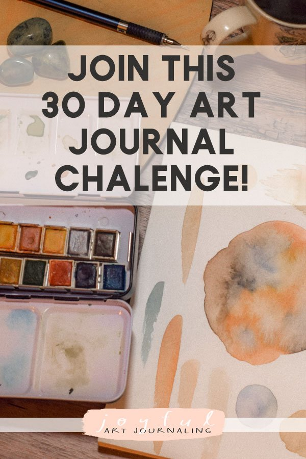 Join this 30 day art journal challenge in June to bring more JOY into your life, and the world, through art journaling! 30 daily art journaling prompts are included.