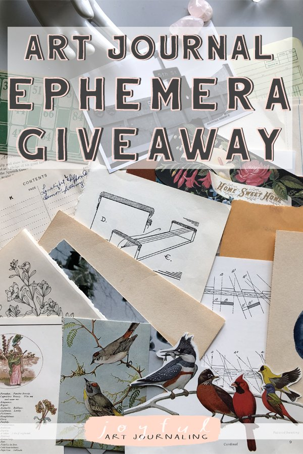 Enter to win this art journal ephemera giveaway, with over 65 pieces of ephemera to use in art journals (or bullet journal, altered books, scrapbooks, etc.) #joyfulartjournaling