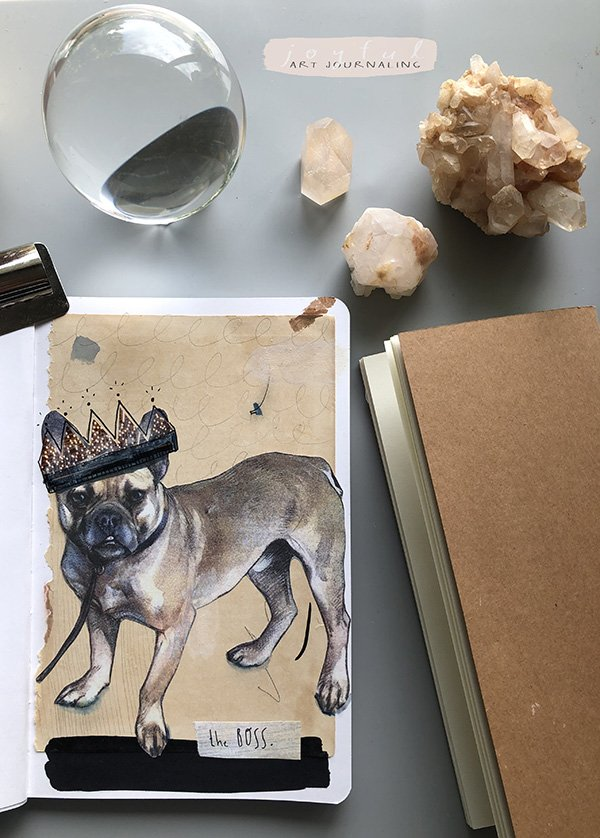 I used one of the Five free Vintage Animal Ephemera for Your Art Journal from #joyfulartjournaling to create this spread. I just love this #vintagedog!