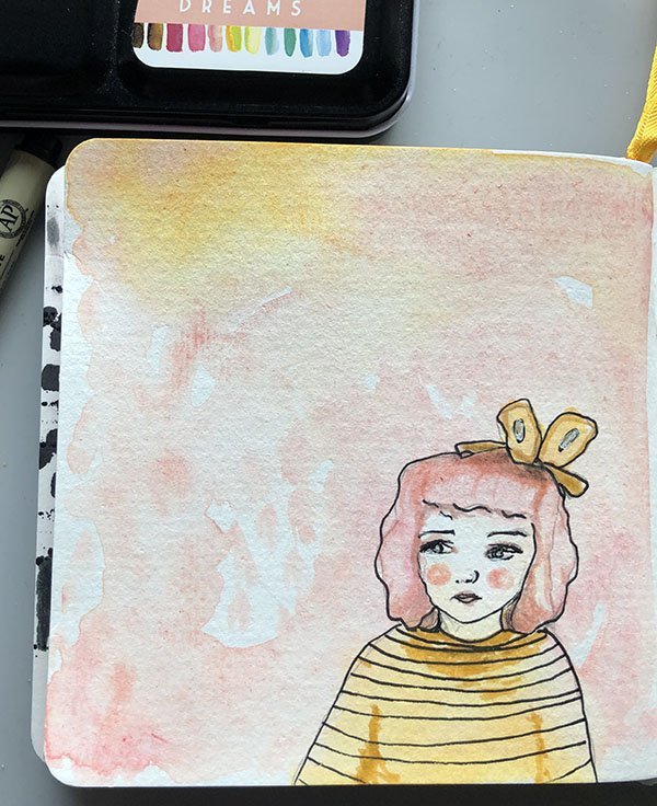 Another favorite for day 13 of the #JoyfulArtJournalingJune challenge prompt, mixed-media.