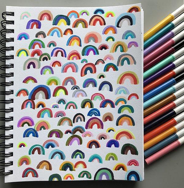 I couldn't choose just one for day 14 of the #JoyfulArtJournalingJune challenge prompt, your favorite color!