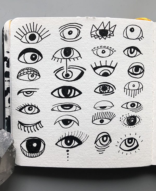 These eyes were so fun to draw in my art journal for day 15 of the #JoyfulArtJournalingJune challenge!