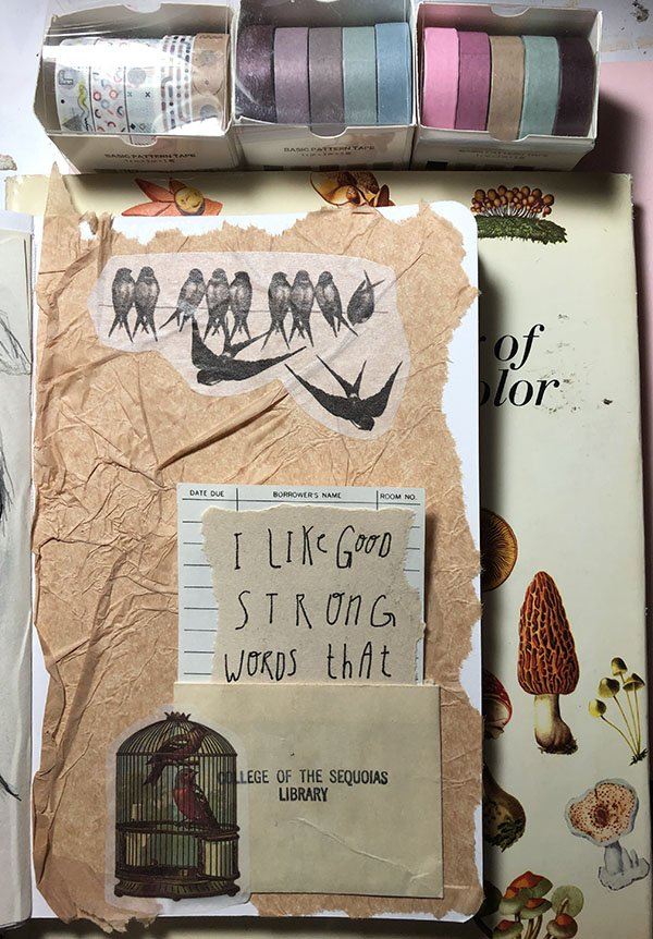 My art journal for Day 5 for the #JoyfulArtJournalingJune challenge... the prompt: quote. On this one you have to pull the card out of the pocket to read the full quote.