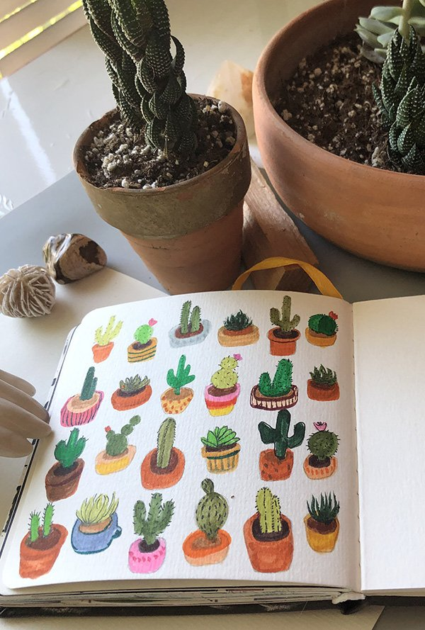 I made these little cactus cuties for the prompt on day 26 of the Joyful Art Journaling 30 day challenge: pattern. #joyfulartjournaling #artjournalchallenge