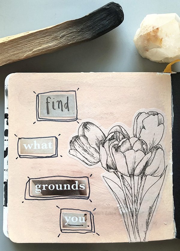 "For the ""minimal"" prompt on day 29 of the Joyful Art Journaling 30 day challenge. #joyfulartjournaling #artjournalchallenge"