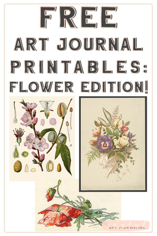 Get these free flower vintage printables for your art journal (or other artsy needs!) Simply by signing up for the Joyful Art Journaling email list! #joyfulartjournaling #artjournals #vintageephemera