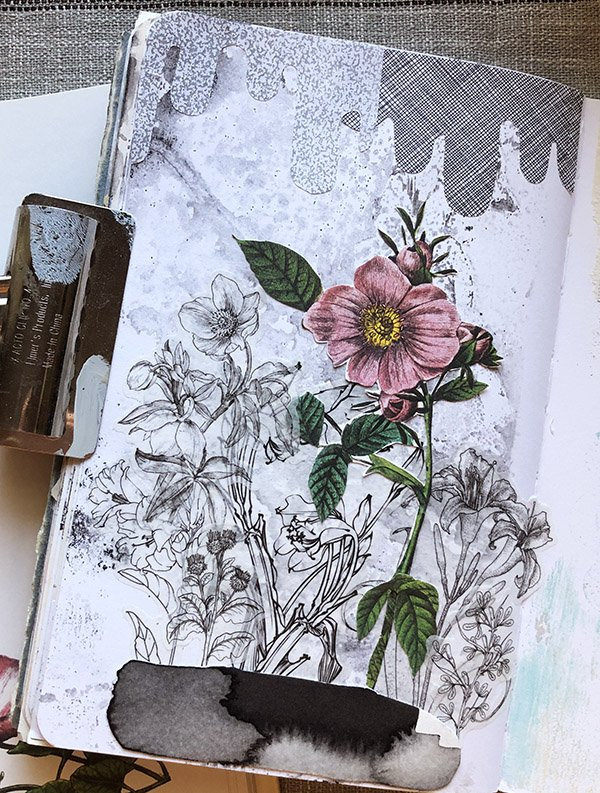 Art journal spread with gel print background, collage and sticker elements by Jules Tillman-Amador. #joyfulartjournaling