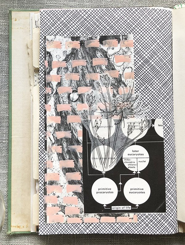 An art journal page with a security envelope background, vintage ephemera collage and paint pen elements by Jules Tillman-Amador. #joyfulartjournaling